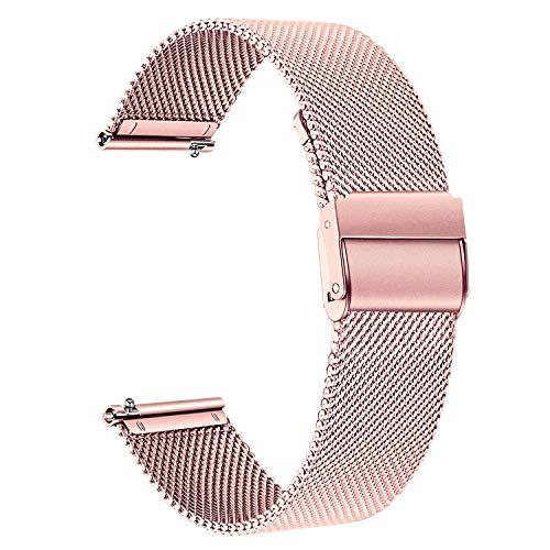 TRUMiRR Compatible con Galaxy Watch Active2/Galaxy Watc Active Correa, 20mm Correa de reloj de acero inoxidable de malla tejida para Samsung Galaxy Watch Active/Galaxy Watch Active2/Galaxy Watch3 41mm