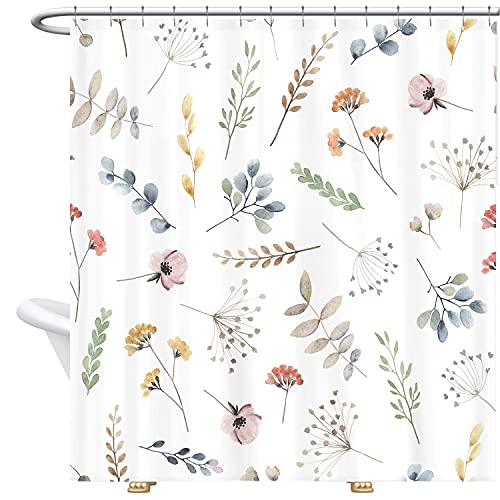 Miyotaa Floral Watercolor Eucalyptus Leaves Shower Curtain Set 60Wx71H Inches Colorful Spring Wildflower Flower Summer Botanical Polyester Waterproof Cloth Bathroom Curtain with 12 Hooks