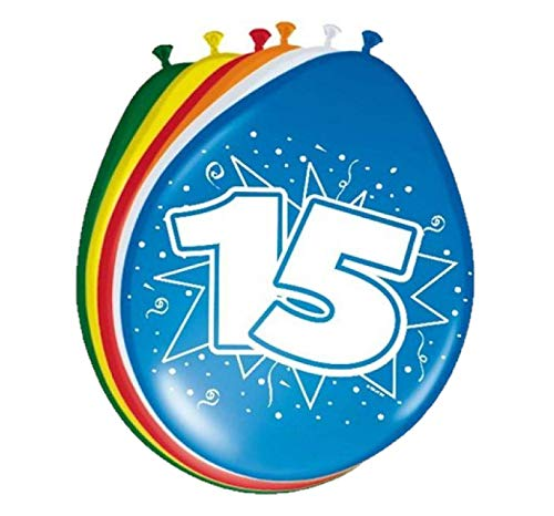 Folat 08217 15. Geburtstag Ballons 30 cm-8 Stück, Mehrfarbig