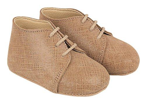 Scarpine primi passi Early Days in vera pelle Lino colore Sabbia prodotte nel Regno Unito - Charlie circa misure 19