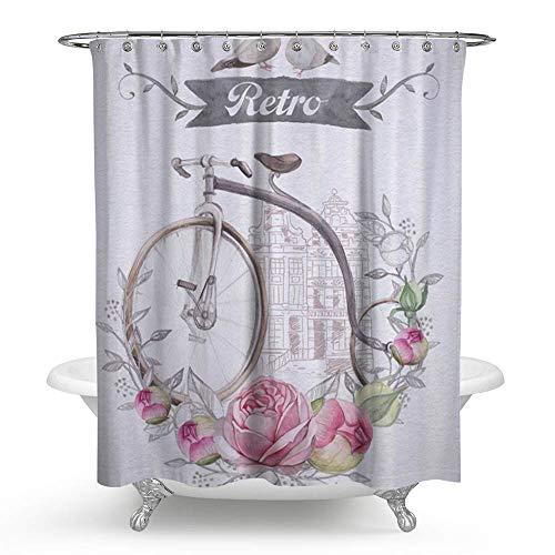 kisy Wasserdicht Bad Duschvorhang Retro Fahrrad Rose Girlande Paar Vögel Badezimmer Dusche Vorhang Standard Größe 182,9x 182,9cm Pink Weiß