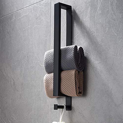 Lolypot Edelstahl Handtuchhalter, Handtuchstange Ohne Bohren, Gästehandtuchhalter Selbstklebend, Badetuchhalter kleber, Gästehandtücher Handtuch Halter 40cm mit Haken für Badezimmer