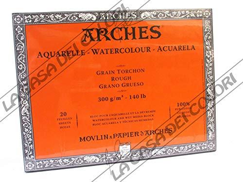 Bloc de 20 hojas de acuarela (pegadas 4 lados), 26 x 36 300 g/m2, grano de trapo blanco natural.