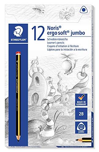 STAEDTLER matite Noris Ergosoft Jumbo, confezione da 12 matite triangolari grandi, gradazione 2B, ideali per principianti, 153, 12 Pezzi