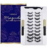 Vassoul Magnetic Eyelashes and Magnetic Eyeliner Kit, 10 pairs Upgraded 3D Magnetic Eyelashes and Waterproof Magnetic Eyeliner Kit
