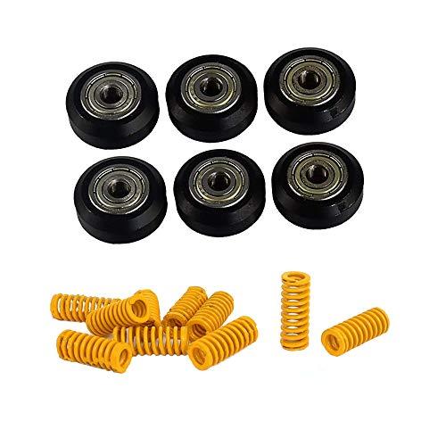 Fortspang, 6 pezzi per stampanti 3D POM V Slot Wheel in plastica con cuscinetto lineare+10 stampi a compressione a molla (8 mm OD 20 mm) per Creality CR-7, CR-8, CR-10, CR10S, Ender 3