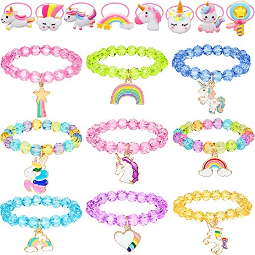 Chuangdi 17 Pieces Colorful Unicorn Bracelet and Unicorn Hair Tie Set Rainbow Unicorn Beaded Bracelet Crystal Bracelet for Unicorn Birthday Supplies Favors Girls Dress Up Game Props