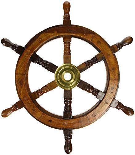 18' Ship Wheel Wooden: Pirate Boat Nautical Fishing