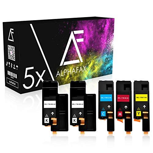 5 Toner kompatibel mit Dell C1760nw, C1765nf, 1250c, 1350cnw, 1355cn, C1700 Series - 593-11140 - Schwarz je 2.000 Seiten, Color je 1.400 Seiten