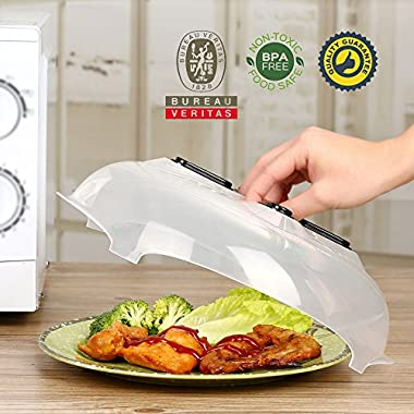 Microwave plate cover, hover Magnetic function, safe convenient with steam vent, prevent splatter cover, Food-grade PP material, BPA-free, FDA-certified, Max allowable working: 300℉/150℃-11.5in
