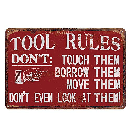 N \ A Regla de herramienta de garaje roja decoración de pared de metal de estaño, diseño original grueso hojalata herramienta reglas arte de la pared signos para garaje