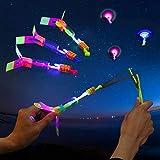 10pcs Amazing Led Light Arrow Rocket Helicopter Flying Toy Party Fun Gift Elastic