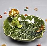 WYXMJ Decoración cerámica Hongo Rana Porcelana Decorativa Lotus Caja de jabón baño artesanía Adorno Accesorios-A_17.5cm * 17cm * 9cm