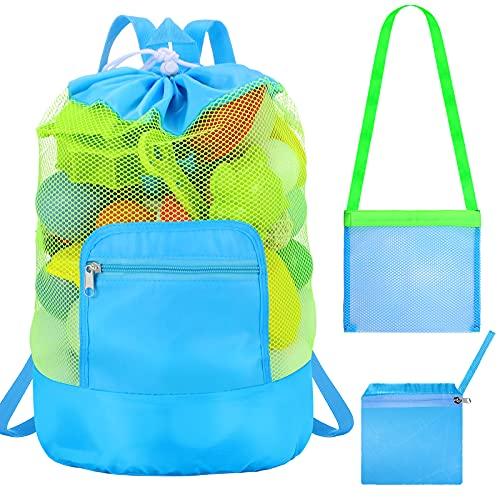 Aoriher Große Strandtasche Kordelzug Strand Rucksack Spielzeug Aufbewahrung Mesh Taschen mit Einer Schulter Kleine Mesh Tasche für Kinder Erwachsene Strand Camping Outdoor Sports (Blau)