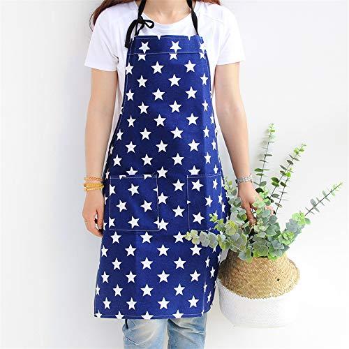 Lindong Sterne Schürze mit Tasche Baumwolle Leinen Damen Küchenschürze Latzschürze Kochschürze zum Kochen oder Backen dunkelblau