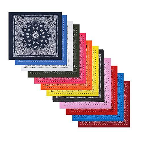 Boolavard Bandana Kopftuch Halstuch - gemustert: Paisley Muster - 100% Baumwolle Bindetuch 1 er 6 er oder 12 er Pack!! (12 x Gemischt Mehrfarbig B)