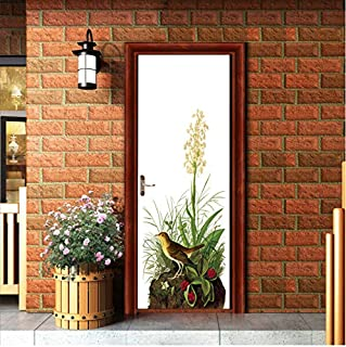 Floral Sticker Plant Mural Door DIY Wallpaper Rushed Sale Wall Door Stickers for Living Room Home Decoration Background PVC 38.5x200cm 2 pcs