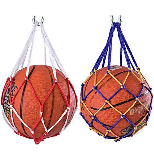 2piezas Bolso De Malla Para BalóN De Baloncesto Red De Transporte De Baloncesto Bolsa De Red De FúTbol PortáTil Bolsa De Malla De Pelota Deportiva Bolsa De Malla Tejida A Mano Bolsa De Red De Voleibol