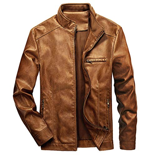 WULFUL Men's Stand Collar Leather Jacket Motorcycle Lightweight Faux Leather Outwear Brown-M