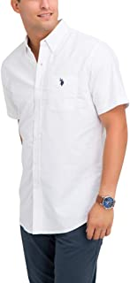 Mens Solid Stretch Oxford Short Sleeve Woven Button Down...