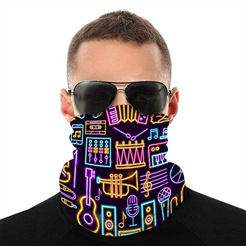 vbndfghjd Unisex Windproof Neck Gaiter Half Cover Shield Music Neon Seamless Pattern Sun-Proof Cover