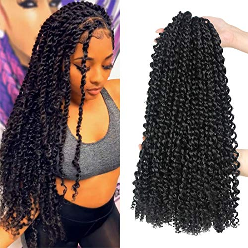 Passion Twist Hair 18 Inch 6 Packs/Lot Water Wave Crochet Hair Passion Twists Long Bohemian Hair Passion Twist Crochet Hair Synthetic Braiding Hair Extensions (1B#)