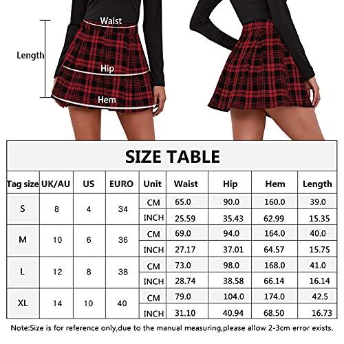Maeau - Mujer Faldas Escocesa Plisada con Cintura Alta Falda Mujeres Tables Plisada Escuela Uniforme Falda Cuadros Mujer Diario para Exterior Danza Fiesta - Rojo