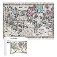 INOV 世界 メルカトル図法1855年 地図 ジグソーパズル 木製パズル 500ピース キッズ 学習 認知 玩具 大人 ブレインティー 知育 puzzle (38 x 52 cm)