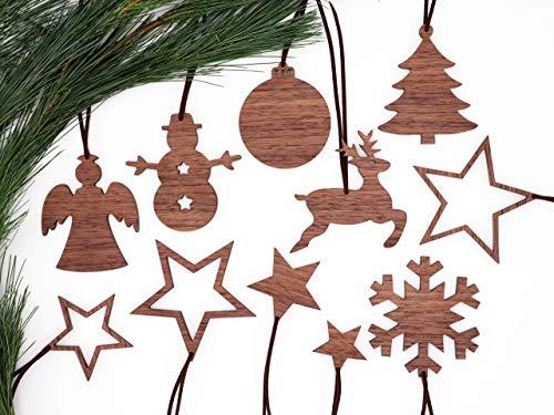 Weihnachtsdekoration Set 11-teilig aus Holz, handmade, nachhaltig, Adventsstern bis Weihnachtsbaum, Weihnachtsbaumschmuck, Christbaumschmuck, Holzanhänger, Fensteranhänger