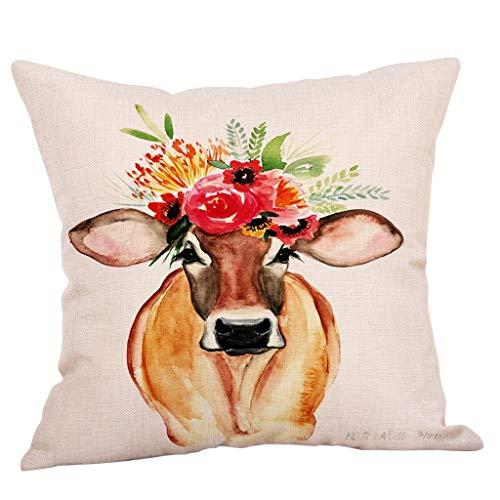FeiliandaJJ Kissenbezug Tier Ölgemälde Kuh Muster Kissenhülle Super Weich Home Dekoration Kopfkissenbezug Pillowcase Sofakissen für Wohnzimmer Sofa Bed,45x45cm (C)