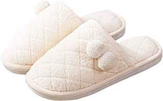 Men's Slipper, Indoor Couple Slipper, Suede Fluffy Slipper with EVA Skid Resistance, Winter Warm Slipper,Beige,S