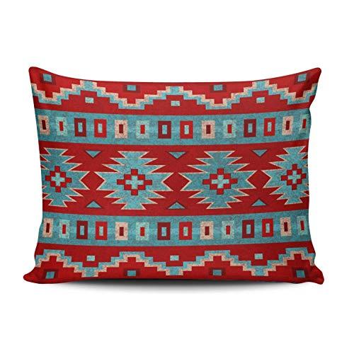 Kris.D Southwest Mesas Pillowcase Soft Zippered Blue and Red Throw Pillow Cover Funda de cojín Doble Cara Impresa estándar 18x18 Pulgadas