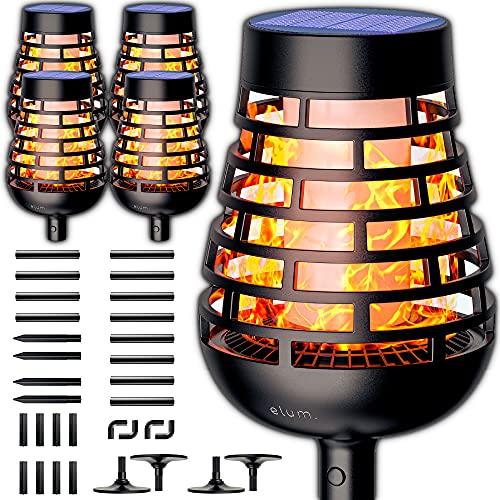 XXL Solar Tiki Torches With Flickering Flame - Solar Torch Light With Flickering Flame - Flame Solar Lights Outdoor - Solar Torch Light - Solar Flame Lights Outdoor - Flickering Flame Solar Lights