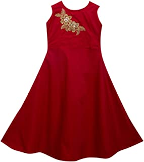 Hopscotch Girls Silk Blend Sleeveless Embroidered Gown in Red Color