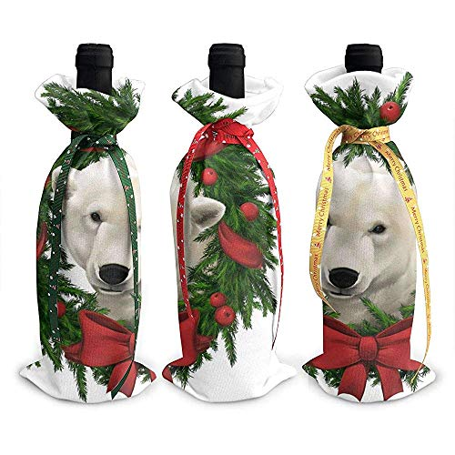 Wine Bottle Cover,Navidad Oso Polar Arco 3Pcs Regalo De Navidad Botella De Vino Tinto Bolsas Para Fiesta De Navidad