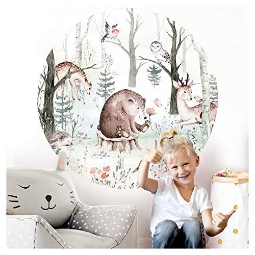Little Deco Wandsticker Kinderzimmer Wandtattoo Tiere Bär Reh 120 cm rund Wanddeko Spielzimmer Sticker Kinder Wandaufkleber Wandbild selbstklebend Baum DL562