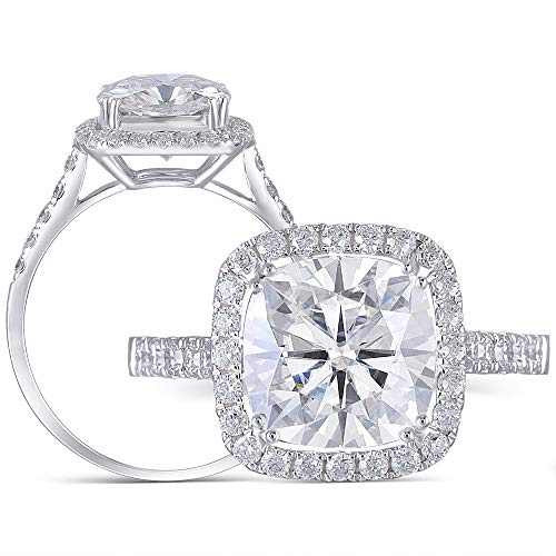DovEggs 10K White Gold Center 3ct 8.5mm G-H-I Color Cathedral Set Elongated Cushion Cut Moissanite Halo Engagement Ring with Accents (6)