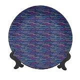 Piatto decorativo in ceramica colorato da 25,4 cm, composizione circolare geometrica su sfondo scuro moderno, astratto, decorativo in ceramica per tavolo da pranzo, catering