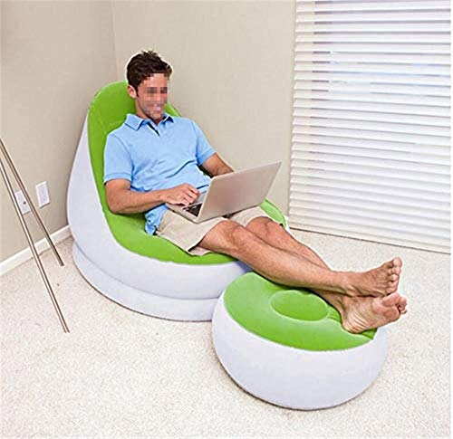 Kutera zitzak grijs/oranje, groen kleuren opblaasbaar flockung faul slaapbank kleine woning klapslaapje zitzak sofa groen