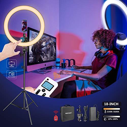 """Neewer Luce LED Anulare Avanzato 18"""" con Touch Control via LCD Display, 2,4G Telecomando & Controllo di Multiple Luci, 3200-5600K, Stativo Incluso, pe"""