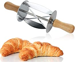 YIKETE Croissant Cutter, Non-stick Rolling Pin, Stainless Steel Roller Slices, Wooden Handle, Portable Homemade Pastry Bak...