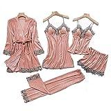 KUXUAN Conjuntos de Pijamas Sexy para Mujer 5 Piezas - Terciopelo Dorado,Camisón de Tirantes Sexy con Almohadilla para El Pecho,Pink-Xxlarge