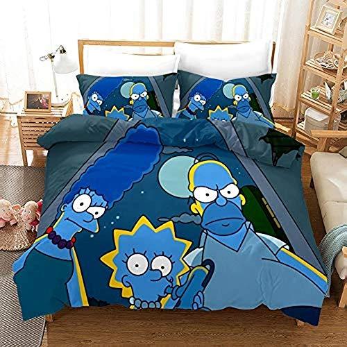 KHDFID Simpson - Juego de cama de microfibra con diseño de dibujos animados 3D, juego de ropa de cama infantil y adulto, funda de edredón y funda de almohada, 2/3 piezas, 140 x 210 cm