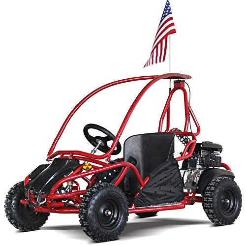79cc 80cc Mini Go Kart Kids Go Karts Gas Powered Full Roll Cage Off Road 4 Wheels Adjustable Seat (Red)