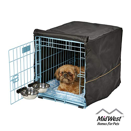 Blue Dog Crate Starter Kit   24-Inch Dog Crate Kit Ideal for Small Dogs Weighing 13-25 Pounds   Includes 1-Door Dog Crate, Blue Pet Bed, 2 Dog Bowls & Crate Cover   1-Year Midwest Quality Guarantee