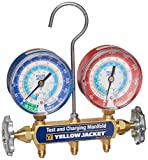 Yellow Jacket 42005 Manifold with 3-1/8' Color-Coded Gauges, psi, R-22/134A/404A (Clamshell) (Hoses not included)