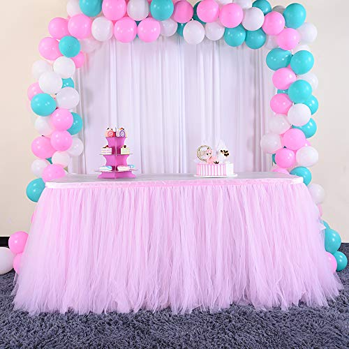 HBB Kids Handmade Tutu Tulle Table Skirt for Parties & Home Decoration, 3 yd (9'), Pink