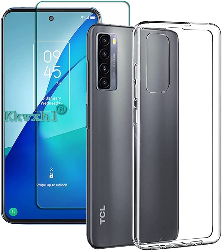 FaDream for TCL 20 5G/20S/20L/20L+ Case, Transparent Anti-Vibration and Anti-Fall Soft TPU Protective Cover with Tempered Glass Screen Protector (Transparent)