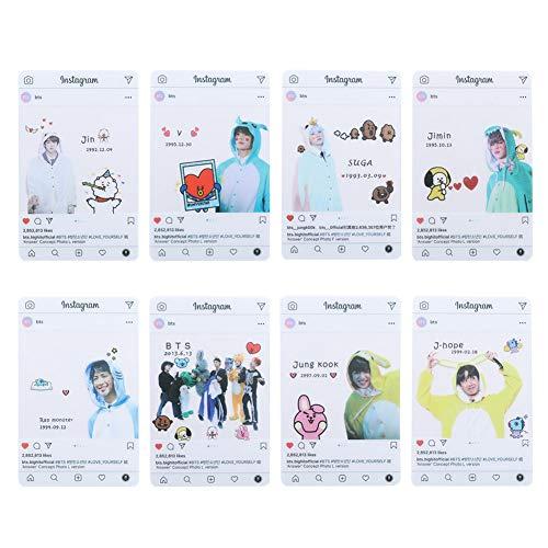 ALTcompluser Kpop BTS Instagram Card Bangtan Boys Jin Jimin Suga J-Hope Jung Kook V RM Photocard Photo Karten, Geschenk für BTS ARMY(#6)