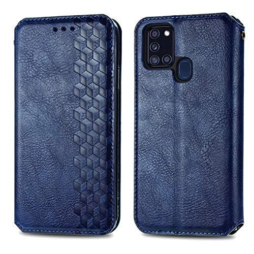 TOPOFU Funda para Samsung Galaxy A21s, Carcasa Libro Piel de Cuero Cartera Case con Ranuras de Tarjeta, Soporte, Cierre Magnético Flip Case Cover para Samsung Galaxy A21s (Azul)